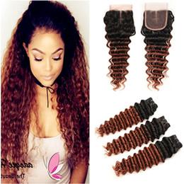 $enCountryForm.capitalKeyWord Australia - Dark Auburn Ombre Deep Wave Brazilian Human Hair 3Bundles with Closure #1B 33 Copper Red Ombre Lace Closure Piece 4x4 with Weave Bundles