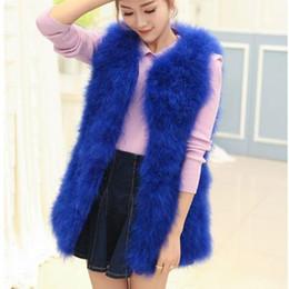 furry vest women 2019 - Furry Women Coats 2019 Winter Furry Vest Big Arrival Women Sleeveless Long Ostrich Fur Vest Faux Fur colete de pele M493