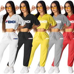 $enCountryForm.capitalKeyWord Australia - Women designer brand 2 piece set tracksuit gym tshirt pants leggings short sleeve crop top hoodies print letter summer clothes plus size 602