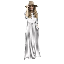 Striped Maxi Dress Blue White Australia - Large size vintage white blue black red Floor Length long sleeve maxi floral print Striped dresses elegant tunic women clothing