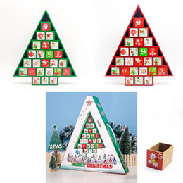tree shaped tables Australia - Christmas Gift Ornament Toy Table Wooden Decor Calendar 24 Drawers Countdown Tree Shape Storage Box