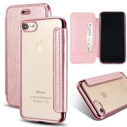 9a4de057663 Funda de billetera para el iPhone X 5 5S SE 6 6S Plus 7 8 Plus Soft TPU +  PU de cuero transparente transparente con soporte