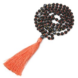 $enCountryForm.capitalKeyWord UK - Natural Snowflake Bead Necklace Retro Woman Sweater Chain Volcanic Stone Long Tassel 108 Necklace Yoga Meditation Mala Wholesale