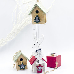$enCountryForm.capitalKeyWord NZ - Christmas Colorful Painting Small Wood House Christmas Tree Hanging Decoration Festive Party Supplies Decor Kerst