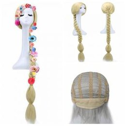 Flowers For hair accessories online shopping - Cute Princess Long hair wig Animation Anime Wig tangled wig braid for kids girls party Cosplay Hair Accessories With flowers AAA1583