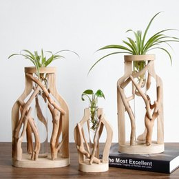 Pure Handwork Wooden Vase Decorated Solid Wood Flower Pot for Creative Glass Floral Hydroponic Container Home Decorative Vase on Sale