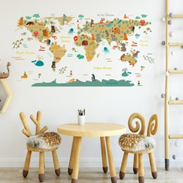 Cartoon Map Australia - Cartoon World Map Wall Stickers PVC Self-adhesive Nursery Decor Decal for Kids World Map Murals Removable