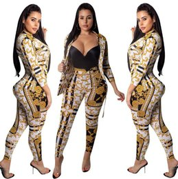 Neck aNkle chaiNs online shopping - New Women Ladie Fashion Gold Chain Printed Jacket Pants Two Piece Set Casual Suit Outfits Casual Suit Designer Fall Clothes