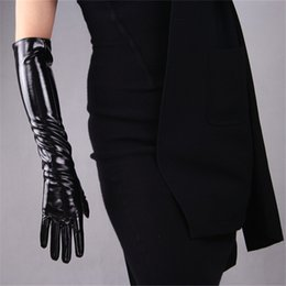 black patent leather gloves Australia - 50cm Long Sectiof Patent Leather Gloves Emulation Leather Sheepskin Bright PU Bright Black Women's Gloves WPU42-50