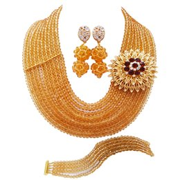 $enCountryForm.capitalKeyWord NZ - Fashion Champagne Gold Crystal African Beads Jewelry Set Nigerian Wedding Accessories Necklace Bracelet Earrings Sets 10DS04