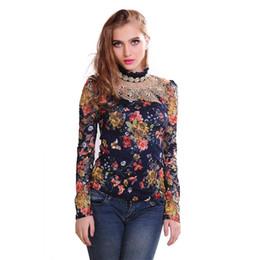 $enCountryForm.capitalKeyWord UK - Autumn Lace Diamond Women T-shirts O-Neck Long Sleeve Ladys Printed Floral Slim Type T-Shirts