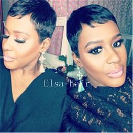 bob cut natural african hair 2019 - Pixie Cut Short Human Hair Wigs for Women Bob Full wig Non Lace Front Wigs with Baby Hair for Africans American Wigs for