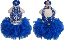 $enCountryForm.capitalKeyWord NZ - Royal Blue High Neck Toddler Girls Pageant Dresses 2019 Short Ball Gown Ruffles Organza Bling Crystal Beaded Girls Kids Formal Prom Dress