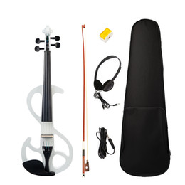 Types Violins NZ - Electric Violin 4 4 Electric Violin W  Carrying Case+Bow S Type White Color Basswood Electric Violin New