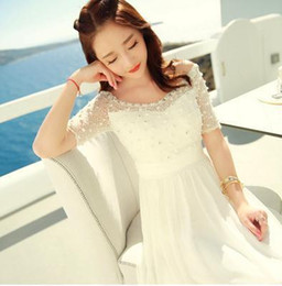 Fairy Style Dresses UK - Bohemian Women dressading Chiffon Lace Slim Long Vacation Fairy Dresses White 3359 T190610