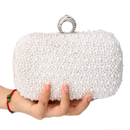 $enCountryForm.capitalKeyWord Australia - Wholesale- Women Bag Two Side Beaded Women's Pearl Clutch Evening Bag Beaded Handbag Beige White Pearl Beads Clutch Bag Shoulder Mini Bags