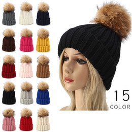 Discount cable knit caps - Kids Adult Thick Warm Winter Hat For Women Soft Stretch Cable Knitted Pom Poms Beanies Hats Women's Skull Beanies G