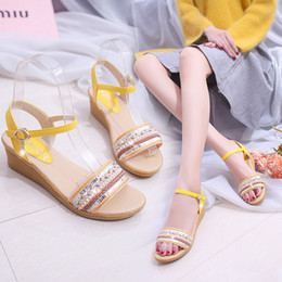 $enCountryForm.capitalKeyWord Australia - Current2019 Season Annual Leisure Time Comfortable Nation Wind Pu Fish Mouth Slope With Weave Injection Shoes Spelling Color Women's Sandals