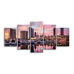 $enCountryForm.capitalKeyWord Australia - 5 pieces high-definition print the view of the city canvas painting poster and wall art living room picture CZFJ5-003