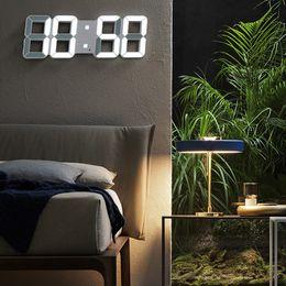 Vente en gros LED Horloge Alarme Montre USB charge électronique Horloges numériques mur 3D Dijital Horloge Saat Décoration Bureau Table Horloge de bureau