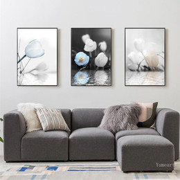 painting tulips 2019 - Nordic Style Canvas Art Romantic Water Tulip White Blue Flowers Living Room Poster and Print Wall Decorative Painting di
