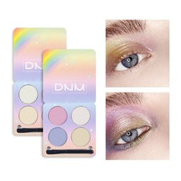 makeup palette brush Australia - DNM 4 Colors Brighten Eyeshadow Powder Brighten Contour Highlighter Matte Glitter Eye shadow Palette Makeup Kit With brush