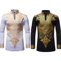 Wholesale traditional fashion clothes for sale – dress New Men Print African Print Dresses Rich Bazin Dashiki Long Sleeve T shirt Traditional Fashion Style Adult Blouse Clothing