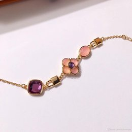 Nature Charms Australia - Top brass material paris design bracelet with nature jade decorate bracelet 17cm charm bracelet for women and mother gift jewelry PS5303A