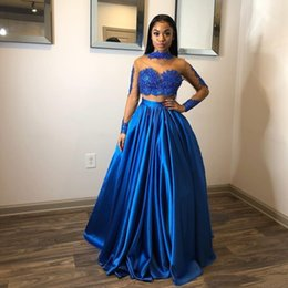 $enCountryForm.capitalKeyWord Australia - 2019 African Black Girls Royal Blue Two Pieces Prom Gowns Lace Appliques A Line Evening Gowns Long Sleeve Party Dresses