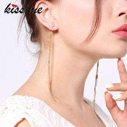$enCountryForm.capitalKeyWord Australia - Rhinestone Moon Star Earrings For Women Korean Fashion Gold Color Alloy Fringe Long Earrings Minimalist Jewelry