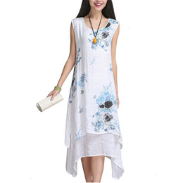 Wholesale plus size sleeveless chinese dress resale online - Designer Dresses Women Clothing Chinese Style Summer Dress Sleeveless Women Dress Casual Cotton Linen Dress O Neck Plus Size De Festa