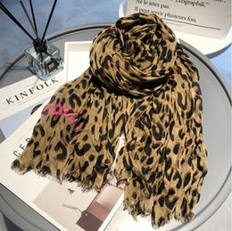 Red Black Scarf Cottons Australia - 2018 autumn winter new leopard tassel wrinkles casual wild ladies scarf classic print pattern cotton creasing Scarf big size 200cm * 140cm