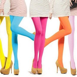 2c4a500ced8f9 Fashion Pantyhose Candy Colors Opaque Footed Socks Tights Slim Christmas Pantyhose  Girl Collant Femme