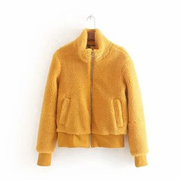lamb stands UK - Md86 2019 Autumn & Winter New Style WOMEN'S Dress Lambs Wool Elegant Small Stand Collar Jacket Women's