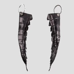 leather tail UK - Imitation Leather Black Crocodile Tail Shape Keychain Key Ring Chian Holder - With Metal Ring for Car Keys Decoration Keyring