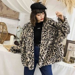warm long stylish coats women Australia - TXJRH Stylish Leopard Hairy Shaggy Faux Lamb Fur Jacket Big Notched Collar Outwear 2018 Winter Women Keep Warm Coat Loose Tops SH190930