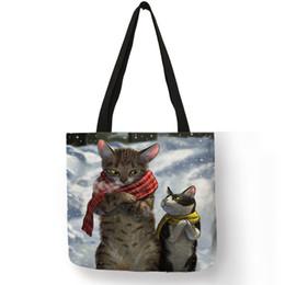 Paintings Ladies Handbags Australia - Custom Creative Cat Oil Painting Print Tote Bag For Women Lady Casual Handbags Shoulder Bag For Traveling School Shopping Bags