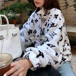 Wholesale korea men coat styles for sale – custom Qiu dong coat female Korea edition loose wool coat coral fleece body printing men and women the same style lovers coat