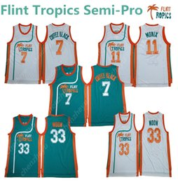 0860030b2b03 Men s Flint Tropics Semi-Pro 33 Jackie Moon Jersey 11 ED Monix 7 Coffee  Black 69 Downtown Basketball Jersey S-XXL