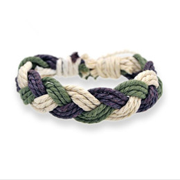 $enCountryForm.capitalKeyWord Australia - Best Selling Hand-woven Bracelets Cotton And Linen Braided Rope Color Hand Rope National Wind Jewelry T190701