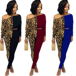 Plus size clubbing clothing online shopping - Women plus size piece set fall winter clothing panelled leopard sexy club gym sweatshirt pants sports set pullover leggings outfits