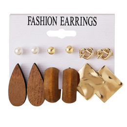 one piece earring Australia - Hoop and Huggie newest fashion accessories Alloy Water droplets shape wood metal square pieces love stud earrings suit 6pairs one set
