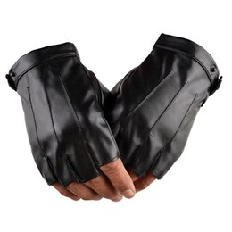 Fingerless motorcycle gloves online shopping - motorcycle moto bike Gloves Riding Leather Pu Outdoors Fingerless Drive Car Non slip Motorcycle Half Finger Glove