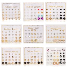 $enCountryForm.capitalKeyWord UK - 12 pieces   set A total of Stud Earrings Set With Card Transparent Zircon Balls Love Flowers Earrings Women Imulated Pearl Earrings Jewelry