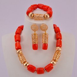 Fashionable Necklace Beads Australia - Fashionable Orange Coral Beads Necklace Jewelry Set Nigerian Wedding African Jewelry Sets for Women CJS09