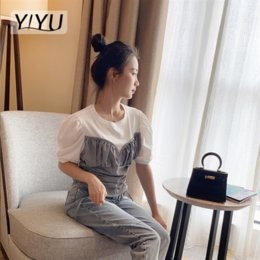 short fake collars Australia - Stitching Plaid fake two-piece T-shirt round collar bubble sleeve fresh sweet T-shirt top style short slim top female