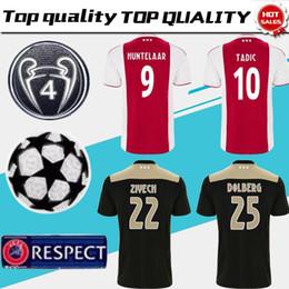 Camiseta de fútbol Ajax local roja blanca 18 19 Camiseta de fútbol Ajax de  visitante 2019   10 TADIC   21 DE JONG   25 DOLBERG   22 Uniforme de fútbol  ZIYEC ... cdfecdebe0914