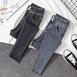 Wholesale mom pants for sale - Group buy 2019 Blue Black Stretch Mom Jeans Streetwear High Waist Skinny Pencil Jeans Woman Plus Size Ladies Women Pants Femme