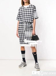 zipper plaid t shirt NZ - graduation season Holiday Hign-End wholesale runway Crew neck Short sleeves Panelled Print Elastic waist T-shirt shorts suitDSQ