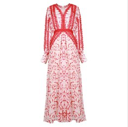 $enCountryForm.capitalKeyWord NZ - New clothes for women in Europe and America for the summer of 2019 Long sleeve v-neck Floral patchwork lace red dress